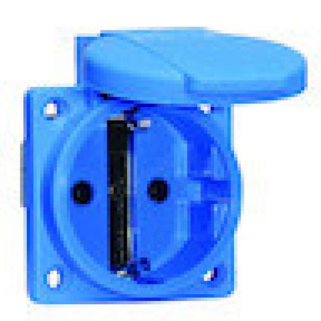 Розетка панельная, синяя .Schuko 16А