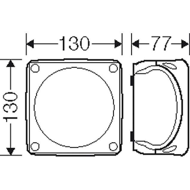 Ответвительная коробка, серая, IP 66, с мембранами, 130x130x77mm, без клеммы