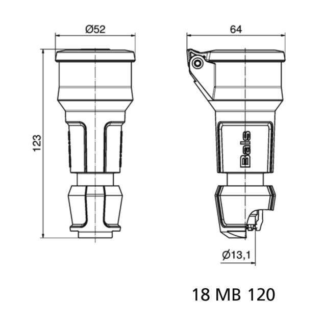 """Розетка кабельная, черная, IP54 ,типа """"Schuko"""". 16А"""