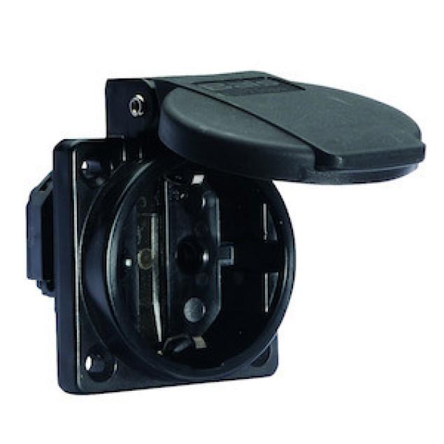 Розетка панельная, черная .Schuko 16А