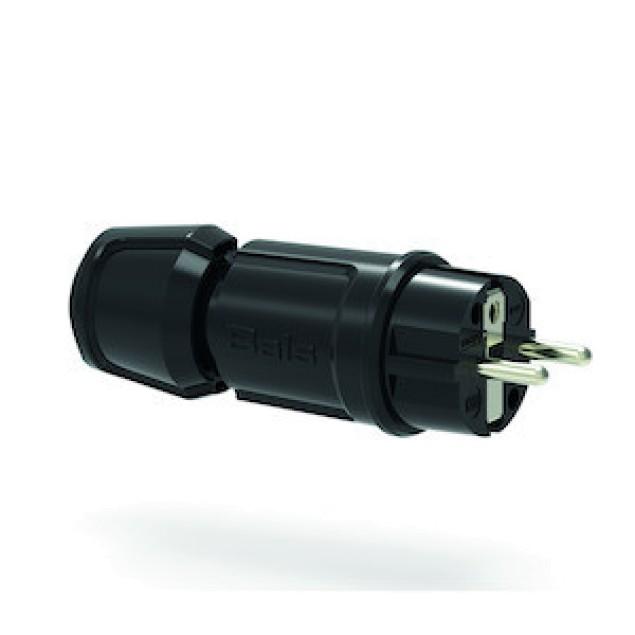 """Вилка кабельная, черная, IP44 ,типа """"Schuko"""". 16А"""