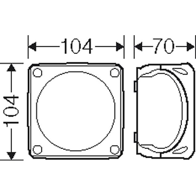 Ответвительная коробка, серая, IP 66, с мембранами, 104x104x70mm, без клеммы
