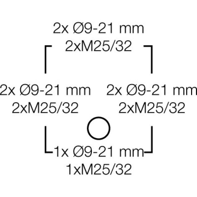 Ответвительная коробка, серая, IP 66, с мембранами, с 5 полюсной клеммой, 4 mm2, Cu